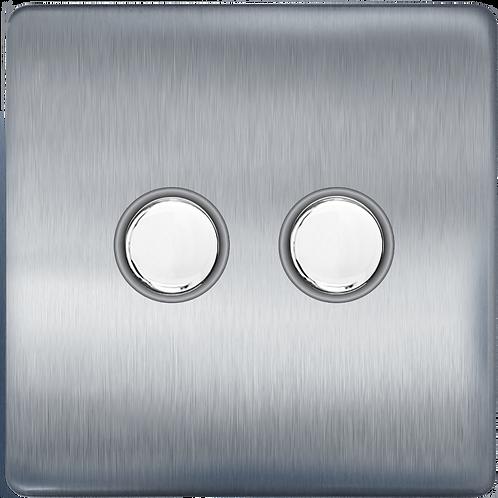 Interrupteur design Poussoir double Acier Brossé
