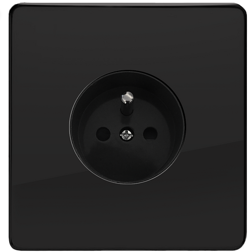 Prise de courant design simple Noir Laqué