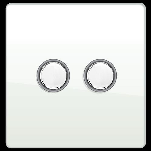 Interrupteur design Poussoir double Blanc Laqué