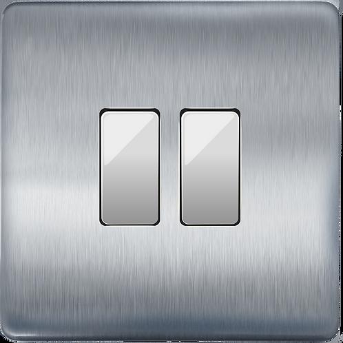 """Interrupteur design """"Classic"""" Double Acier Brossé"""