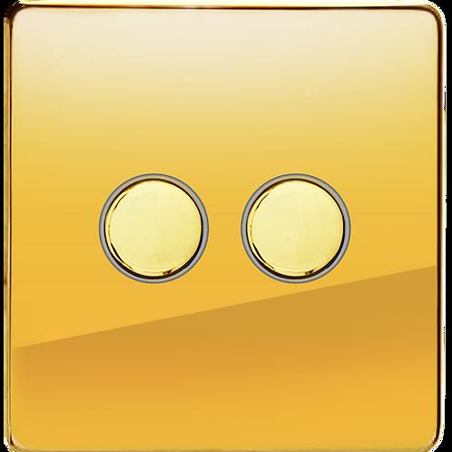 Interrupteur design Poussoir double Laiton Poli