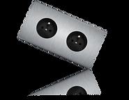 prise de courant double design, plaque en acier