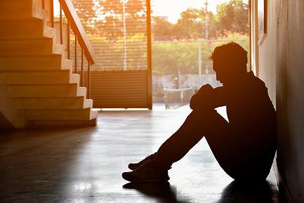 Silhouette of Sad Depressed Insomnia Man