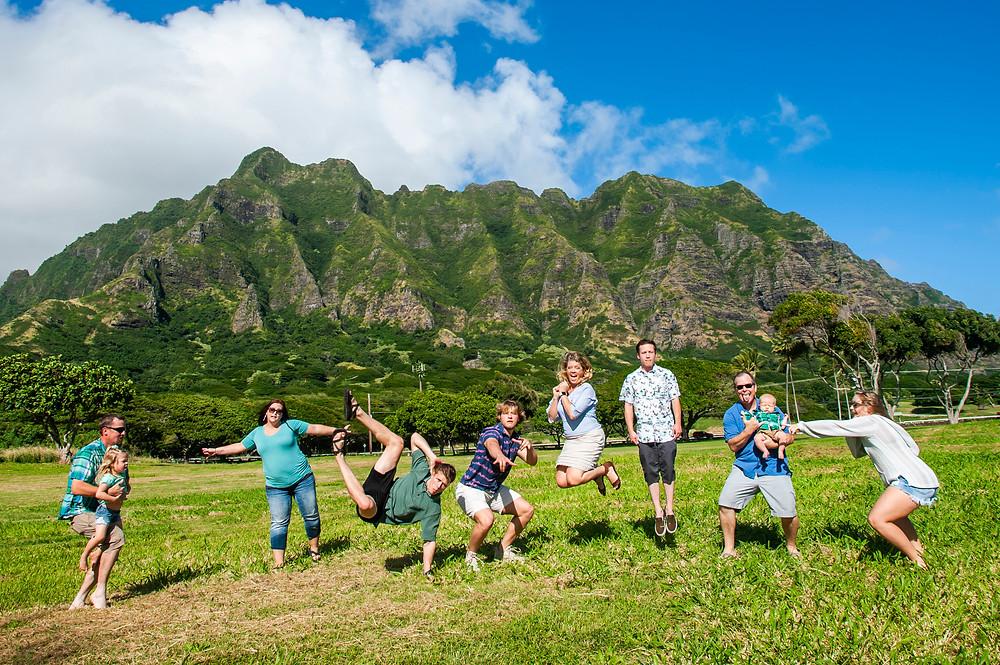 Family photography at the Hanalei beach in Kauai, Hawaii