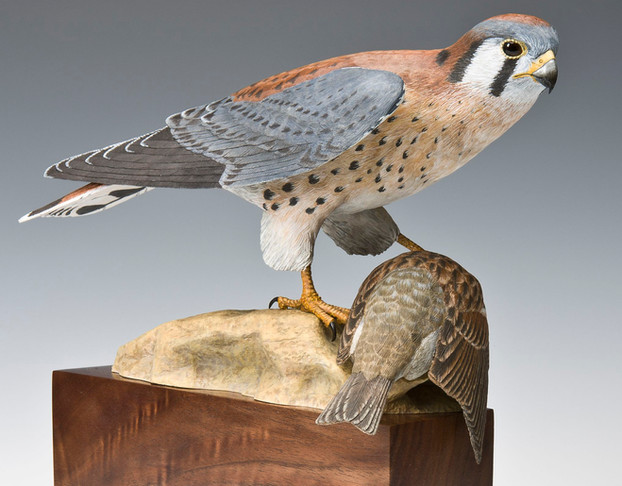 Kestrel with Sparrow Carving