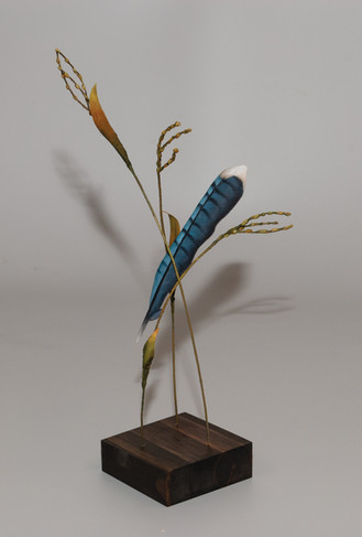 Carved Blue Jay Feather