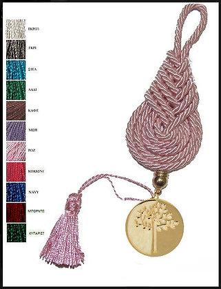 161.3103 - Γούρι 15cm Σε Τρίκλωνο Πλεχτό Κορδόνι, Δέντρο Και Φούντα