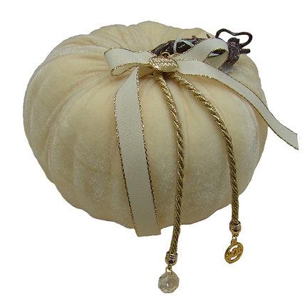 700.010 - Κολοκύθα Βελούδο 18cm Με Μεταλλικά Στοιχεία Κρύσταλλο Και Κορδέλα