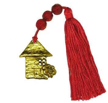Γούρι 11cm Σπιτάκι Και Φούντα Με Γυάλινες Χάντρες - 019Β.3041
