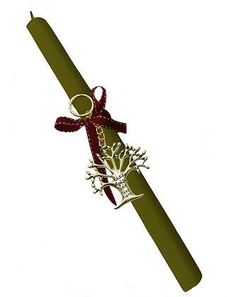 50.3011 - Λαμπάδα Τετράγωνη Με Μπρελόκ Δέντρο Ζωής 33cm