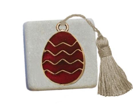 400.2319 - Διακοσμητική Πέτρα 5cm x 5cm, Αυγό Με Φούντα
