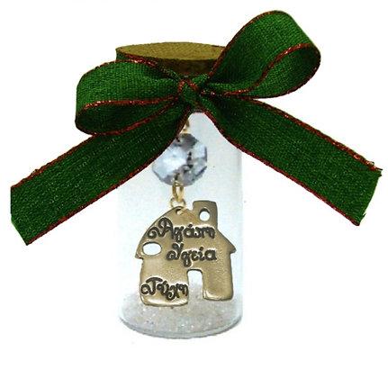 602.3165 - Γούρι Γυάλινο 8cm Με Σπιτάκι, Κρύσταλλα Και Κορδέλα