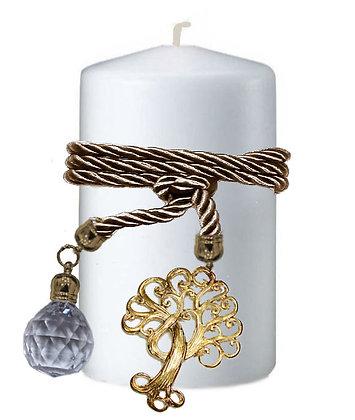 808.3018 - Κερί Κύλινδρος 9cm x 15cm  Με Κρύσταλλο Και Δέντρο Ζωής