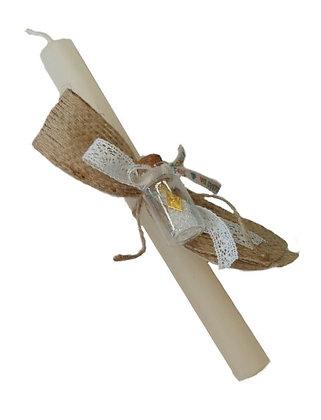 24.02 - Λαμπαδάκι Στρογγυλό Με Γυάλινο Βαζάκι 22cm