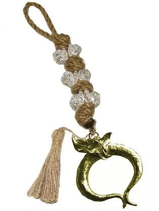 100.2881 - Γούρι 35cm Σε Γιούτα Κορδόνι  Με Κρύσταλλα, Ρόδι Και Φούντα