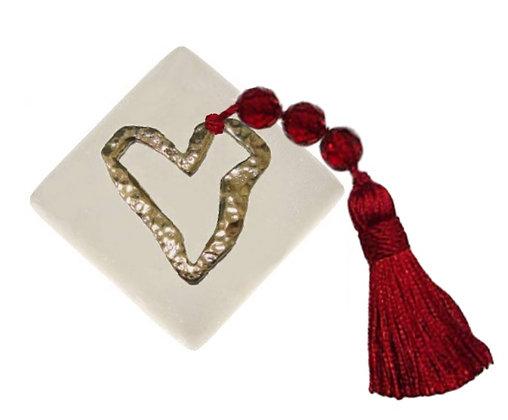 401.0645 - Διακοσμητική Πέτρα Με Καρδιά Και Φούντα