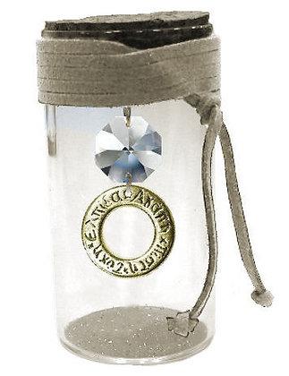 602S.2219 - Γυάλινο Βαζάκι 8cm Με Κύκλο Ευχών, Κρύσταλλα Και Κορδόνι