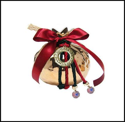 805.2219  - Κεραμικό Ρόδι 7cm Με Ευχές, Κορδόνια, Κρύσταλλα, Δαντέλα Και Κορδέλα
