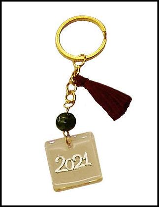 303.2021 - Γούρι Μπρελόκ 10cm Με Χρονολογία Σε Plexiglass