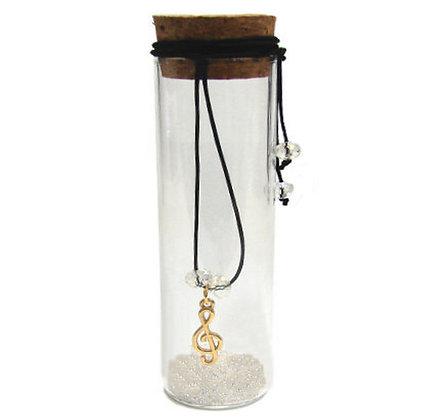 600.1017 - Γυάλινος Σωλήνας 13cm Με Κλειδί Σόλ Κρύσταλλα Και Κορδόνι