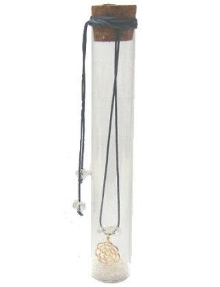 601.3111 - Γυάλινος Σωλήνας 15cm Με Τριαντάφυλλο, Κρύσταλλα Και Κορδόνι