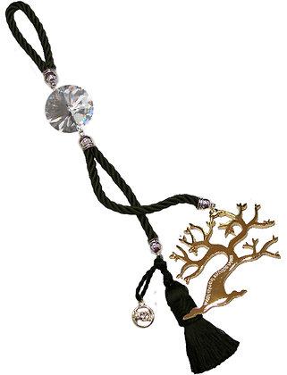 043.3166 - Γούρι 40cm Σε Τρίκλωνο Κορδόνι, Δέντρο, Κρύσταλλα Και Φούντα