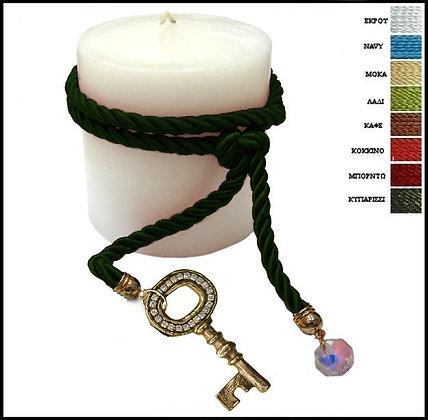 853.3076 - Κερί 9cm x 9cm Με Κλειδί, Κρύσταλλο Και Κορδόνι