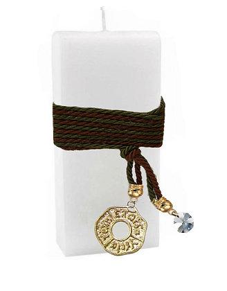 602.3010 - Κερί Πλακέ 7cm x 20cm  Με Κρύσταλλο Και Κύκλο Ευχών