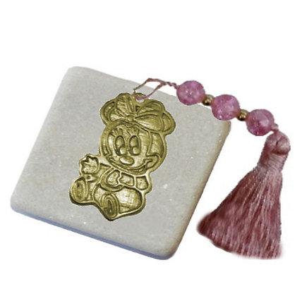 410.2564 - Πέτρα Γούρι 5cm x 5cm, Minnie Mouse Και Φούντα Με Χάντρες