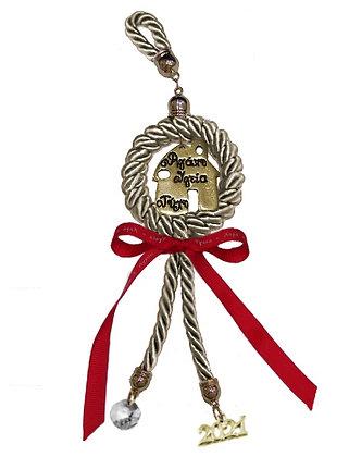 055.3165 - Γούρι 22cm Σε Κρίκο 6cm Με Τρίκλωνο Κορδόνι, Σπίτι Και Κρύσταλλο