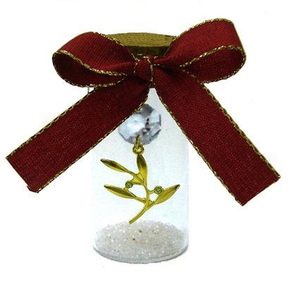 602.2187 - Γούρι Γυάλινο 8cm Με Κλαδάκι, Κρύσταλλα Και Κορδέλα
