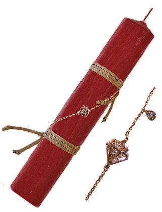 78.SB101 - Λαμπάδα Στρογγυλή Σαγρέ Με Ατσάλινο Βραχιόλι 22cm