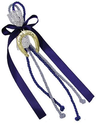 011.3082 - Γούρι 20cm Σε Τρίκλωνα Κορδόνια Με Πέταλο Σατέν Κορδέλα Και Δαντέλα