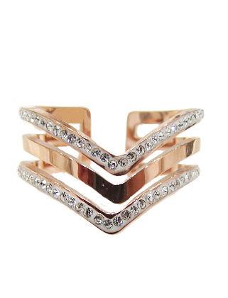 SR.116- Ατσάλινο Δαχτυλίδι Τρίσειρο Με Κρύσταλλα