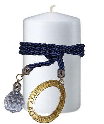 808.3055 - Κερί Κύλινδρος 9cm x 15cm  Με Κρύσταλλο Και Αυγό Ευχές