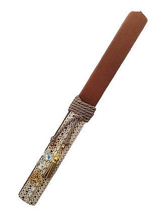 03.3009 - Λαμπάδα Πλακέ 33cm Με Μεταλλικό Δέντρο Ζωής