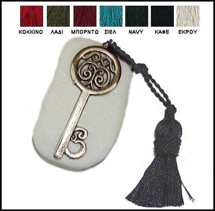 402.3048 - Πέτρα Γούρι Ακανόνιστη 7-10cm, Κλειδί Και Φούντα