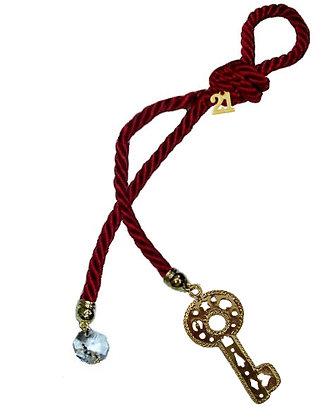 041.3191 - Γούρι 25cm Τρίκλωνο Κορδόνι Με Κλειδί Και Κρύσταλλο