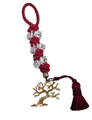 101.3166 - Γούρι 35cm Σε Τρίκλωνο Κορδόνι  Με Κρύσταλλα, Δέντρο Και Φούντα