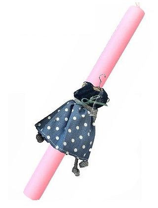 37.0020 - Λαμπάδα Οβάλ Σαγρέ Με Τζίν Φορεματάκι