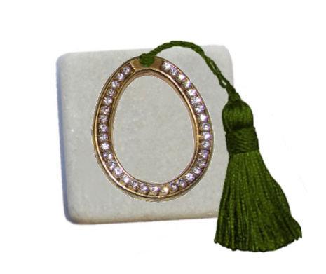 400.3059 - Διακοσμητική Πέτρα 5cm x 5cm, Αυγό Κρύσταλλα Με Φούντα