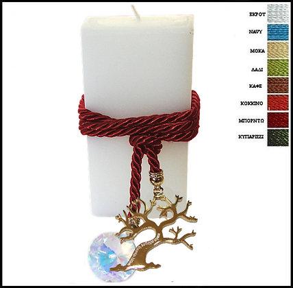 864.3166 - Κερί 20cm x 7cm Με Δέντρο, Κορδόνι Και Κρύσταλλο