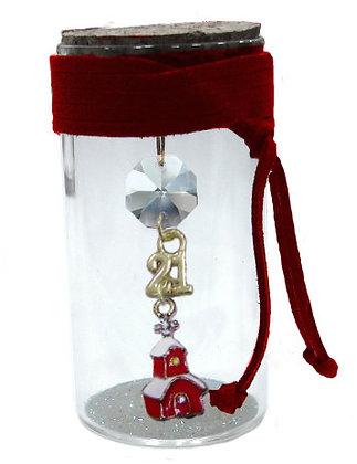 602S.3145 - Γούρι Γυάλινο 8cm Με Σπιτάκι Σμάλτο, Κρύσταλλα Και Κορδόνι
