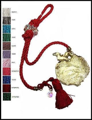 110.2933 - Γούρι 40cm Σε Τρίκλωνο Κορδόνι  Με Κρύσταλλα, Ρόδι Και Φούντα