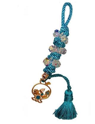 101.3154 - Γούρι 35cm Σε Τρίκλωνο Κορδόνι  Με Κρύσταλλα, Ρόδι Και Φούντα