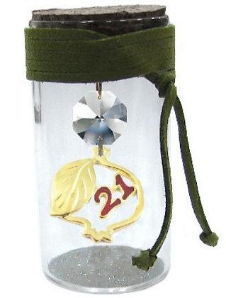 602S.3172 - Γούρι Γυάλινο 8cm Με Ρόδι, Κρύσταλλα Και Κορδόνι