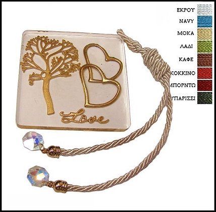 430.3102 - Plexiglass Γούρι 8cm x 8cm, Δέντρο Καρδιές, Κορδόνι Και Κρύσταλλα
