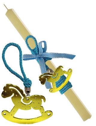 51.2004 - Λαμπάδα Τετράγωνη Με Portes Cles Καρουσέλ 33cm