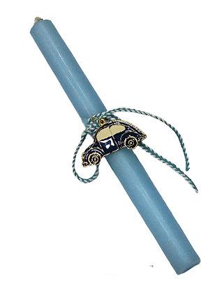 23.3100 - Λαμπαδάκι Στρογγυλό Με Mεταλλικό Αμαξάκι 22cm