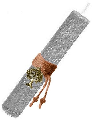 48.3013 - Λαμπάδα Στρογγυλή Σαγρέ Με Δέντρο Ζωής 22cm